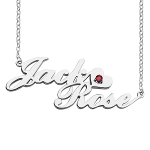 Sterling Silver Personalized Elegant Double Lovers' Names Necklace