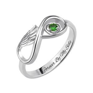 Angel Wing Anniversary Ring for Her with Birthstone Platinum Plated