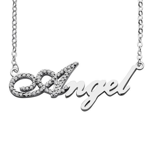 2a55073cfc38b1 Sterling Silver Script Name Necklace-Initial Full Birthstone. $ 39.99 $  31.99