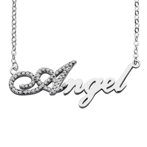Sterling Silver Script Name Necklace-Initial Full Birthstone