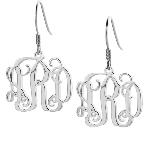 Lovely Personalized Sterling Silver Monogram Earrings