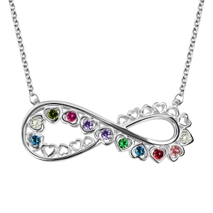 Unique Infinity Heart Necklace With Birthstones Platinum Plated