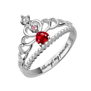 Fairytale Princess Tiara Birthstone Ring Sterling Silver