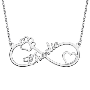 Customized Infinity Paw Print Name Necklace in Silver