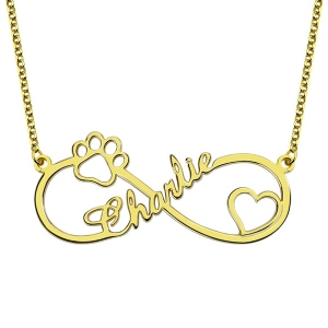 Customized Infinity Paw Print Name Necklace Gold Plated