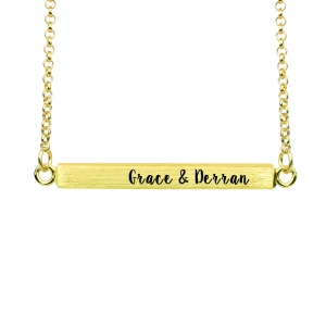 Custom Four-Sided Engraved Bar Necklace Gold Plated