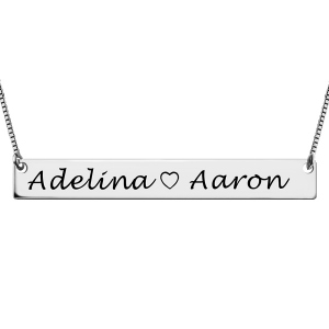 Sterling Silver Splendid Couple Bar Engraved Names Necklace