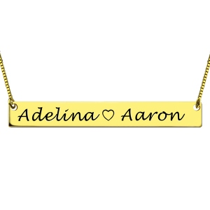 Romantic Engraved Double Names Gold Bar Lovers Necklace