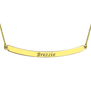 Personalized Gold Curved Bar Name Necklace