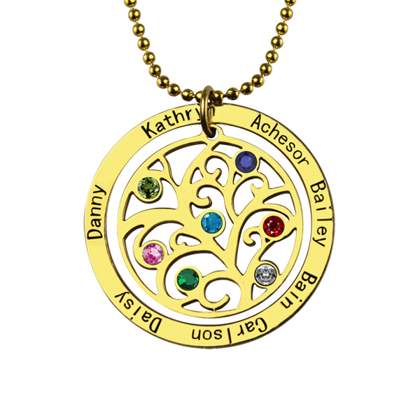 Family Tree Necklace for Mothers Day up to 4 Birthstones /& 4 Inscriptions