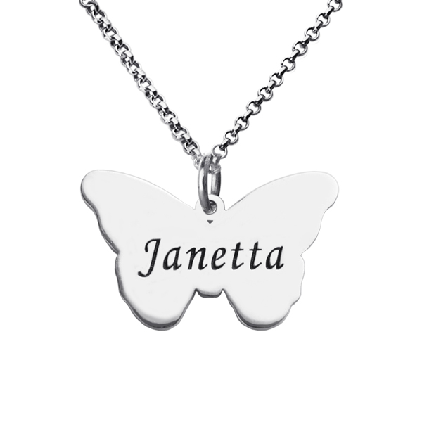 fbb4fd8ef Personalized Charming Butterfly Pendant Name Necklace Silver. $ 44.99 $  26.99