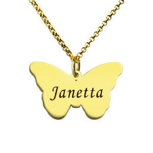 Butterfly Pendant Engraved Name Necklace 18k Gold Plated