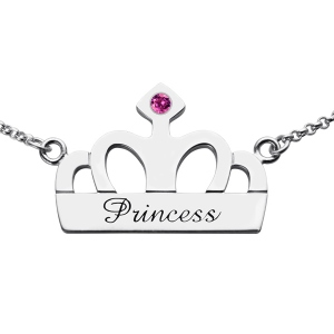 Crown Charm Necklace with Birthstone & Name Sterling Silver
