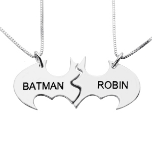 Bat Mother Daughter Name Necklaces Set Sterling Silver