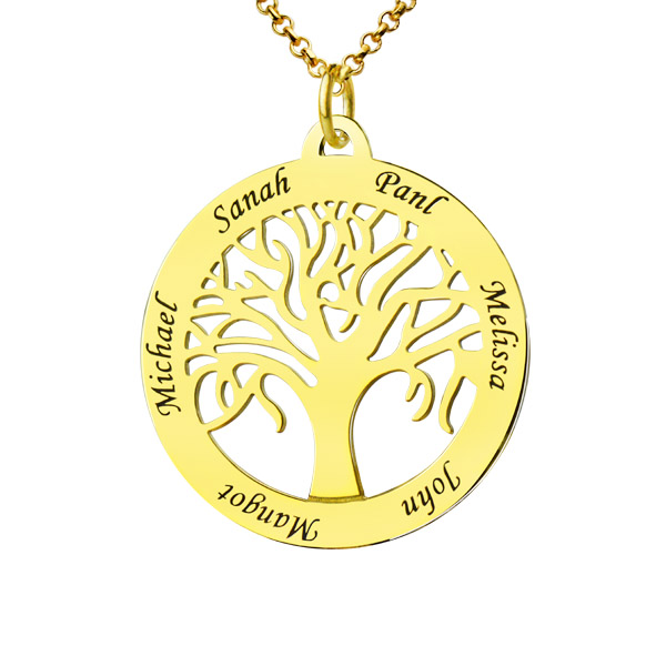 Circle 5 Family Names Tree Of Life Necklace In Gold