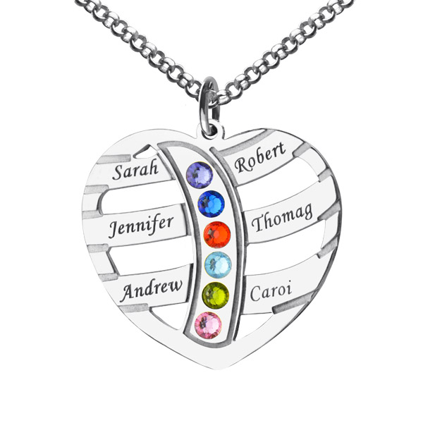 45a597d16d5c0 Mom's Necklace With 6 Kids Name & Birthstone In Sterling Silver