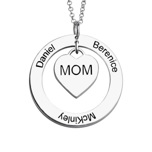 Trendy Family Names Necklace For Mom Sterling Silver