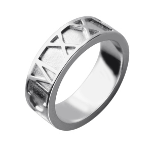 Sterling Silver Trendy Personalized Roman Numerals Band Ring