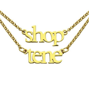 Double Layer Mini Name Necklace 18K Gold Plated