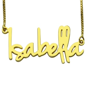 Custom Small Retro Name Necklace For Women in Gold