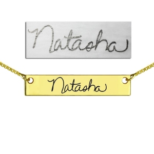 Custom Necklace Signature Bar Necklace Handwriting Gold