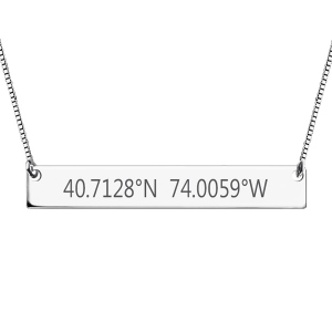 Attractive Engraved Coordinates Bar Necklace Sterling Silver