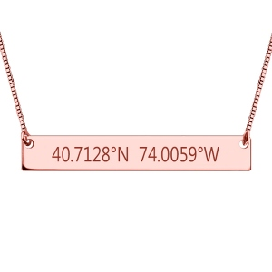 Glamorous Engraved Coordinates Bar Necklace In Rose Gold