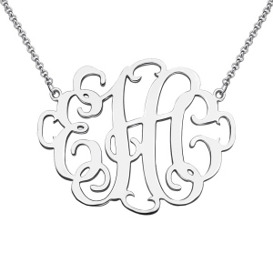 Personalized Stylish Monogram Necklace In Sterling Silver