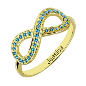 Full Birthstone Infinity Promise Name Ring Gift 18K Gold Plated