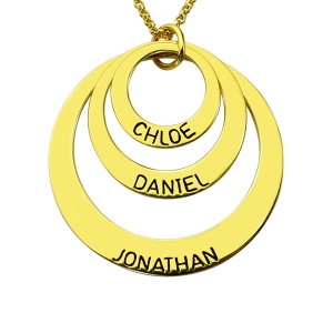 Engraved Three-Disc Name Necklace for Mother 18K Gold Plated