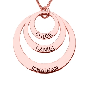 Dazzling Surface Engraved 3 Disc Kids Name Necklace for Mother in Rose Gold