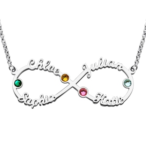 Personalized Infinity Four-Name Necklace With Birthstones Silver