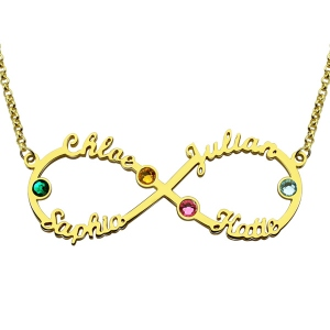 Beautiful Personalized Infinity Four Name Necklace With Birthstones In Gold