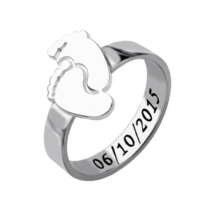 First Time Mothers Day Ring Gifts with Baby Name & Birth Date