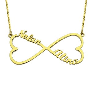 Artistic appearance Personalized Infinity 2 Hearts & Names Necklace 18K Gold Plated