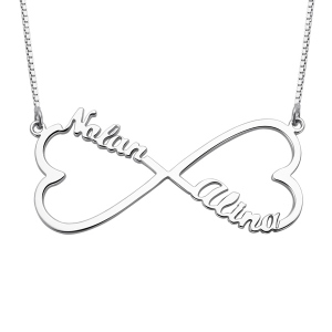 Personalized 2 Hearts & Names Infinity Necklace Sterling Silver