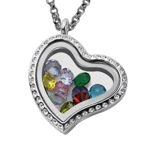 Birthstone Valentine's Heart Floating Locket Gifts for Her