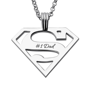 Personalized Superman Logo Necklace Gift for Dad