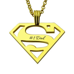 Personalized Father's Day Superman Logo Necklace Gifts In Gold