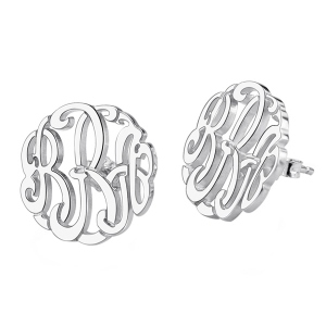 Personalized Silver Hand-painted Monogram Stud Earrings