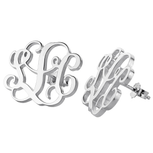Handmade Monogram Stud Earrings In Sterling Silver