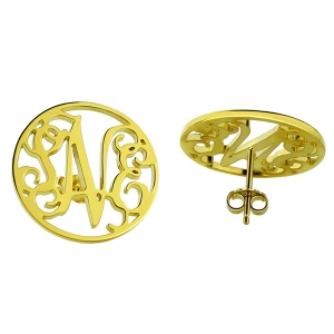 Personalized Circle Monogram Stud Earring In Gold