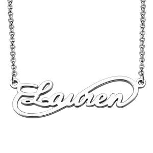 Unique Knot Style Name Necklace Sterling Silver