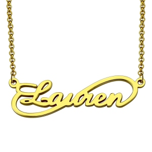 Unique Infinity Style Name Necklace Gold Plated Silver