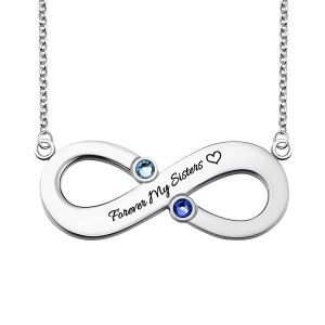 Engraved Infinity Necklace With Two Birthstones Sterling Silver