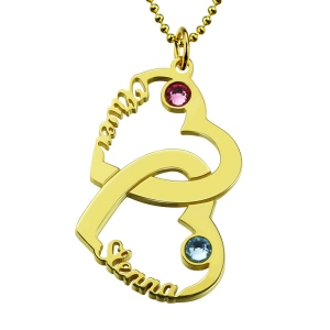 Heart in Heart Names Necklace with Birthstones Gold Plated Silver