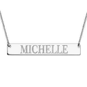 Engraved ID Name Bar Necklace In Sterling Silver