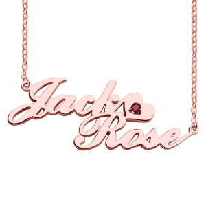 Two-Row Letter Carrie Style Name Necklace Rose Gold