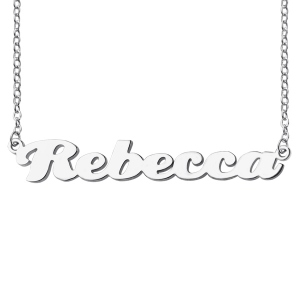 Personalized Sterling Silver Puff Font Nameplate Necklace
