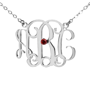 Personalized Sterling Silver Monogram Necklace With One Birthstone